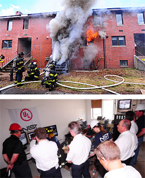 The New York City Fire Department, NIST and Underwriters Laboratories set fire to 20 abandoned townhouses on Governors Island, New York, in a series of experiments to test the conventional wisdom on, and new tactics for, controlling fires and rescuing occupants inside burning homes. Credit: FDNY Photo