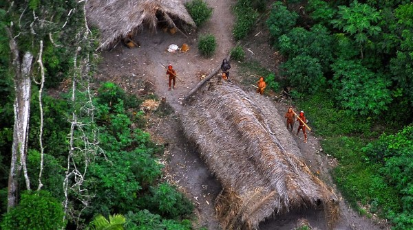 Members of an uncontacted tribe in the Brazilian state of Acre, as seen from satellite images. Photo courtesy of Government of Brazil.