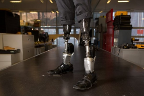 Herr wears two BiOM T2 prostheses. Photo: Bryce Vickmark