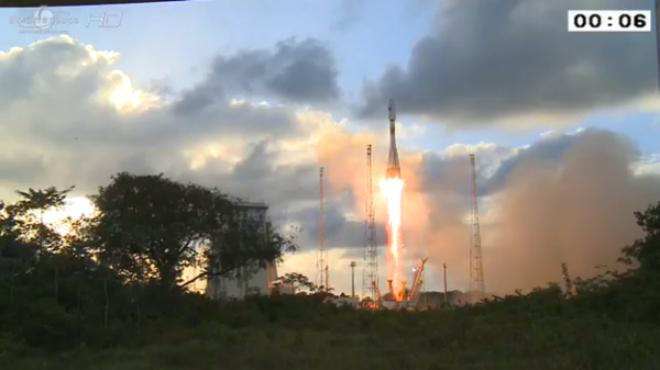 Sentinel-1A lifted off on a Soyuz launcher from Europe's Spaceport in French Guiana at 21:02 GMT (23:02 CEST) on 3 April 2014. Copyright ESA/CNES/Arianespace