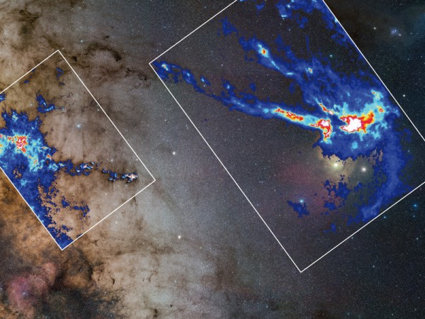 "Cosmic nurseries: Jouni Kainulainen and his colleagues studied The Pipe Nebula (left) and the Rho Ophiuchi cloud (right) in the Milky Way. In the background, an ordinary image of the Milky Way; each inset map shows to what extent the light of background stars is dimmed as it passes through the cloud in question. These maps form the basis of the three-dimensional reconstruction of cloud structure from which the astronomers derived their ""recipe for star formation"". © S. Guisard, ESO (background) / J. Kainulainen, MPIA (density maps)"