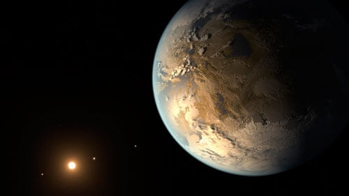 Figure 1. The artistic concept of Kepler-186f is the result of scientists and artists collaborating to help imagine the appearance of these distant worlds. Credit: NASA Ames/SETI Institute/JPL-CalTech.