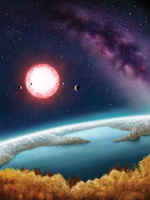 Figure 3. The artist's concept depicts Kepler-186f, the first validated Earth-size planet orbiting a distant star in the habitable zone—a range of distances from a star where liquid water might pool on the surface of an orbiting planet. The discovery of Kepler-186f confirms that Earth-size planets exist in the habitable zone of other stars and signals a significant step closer to finding a world similar to Earth. The artistic concept of Kepler-186f is the result of scientists and artists collaborating to help imagine the appearance of these distant worlds. Art Credit: Danielle Futselaar.