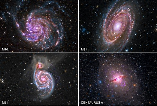 A new collaboration combines data from amateur astronomers with data from NASA mission archives. This quartet of galaxies represents a sample of the images that have been created. The four galaxies are M101, M81, Centaurus A, and M51 starting in the upper left and moving clockwise. X-rays from Chandra are purple, infrared data from Spitzer are red, and the optical data are red, green, and blue.