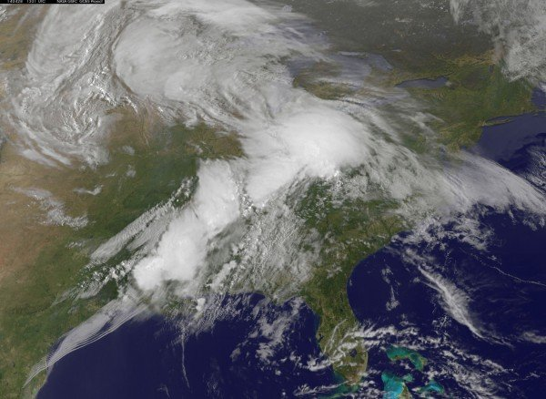 This NOAA GOES-East satellite image from Monday, April 28, 2014 at 13:01 UTC/9:01 a.m. EDT shows the same storm system that generated the severe weather outbreak yesterday, has moved to the east. Image Credit: NASA/NOAA GOES Project