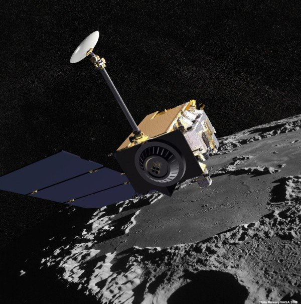 Artist concept of the Lunar Reconnaissance Orbiter with Apollo mission imagery of the moon in the background. Image Credit: NASA