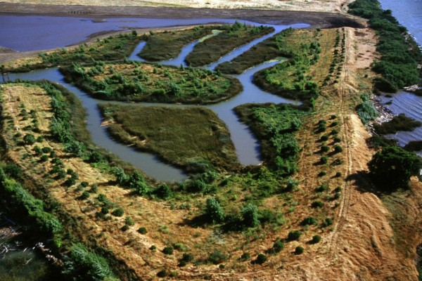 This 2004 levee break, caused by a burrowing beaver, did $90 million worth of damage. NASA's UAVSAR is monitoring levees for early signs of stress that could lead to failure. Image Credit: Calif. DWR