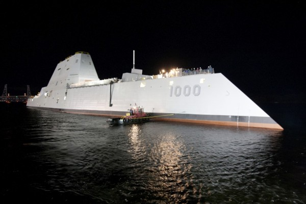 Spinel windows can have applications as electro-optical/infrared deckhouse windows in the new class of U.S. Navy destroyers, like the USS Elmo Zumwalt pictured above, that feature a low radar signature compared with current vessels.  (U.S. Navy photo courtesy of General Dynamics)