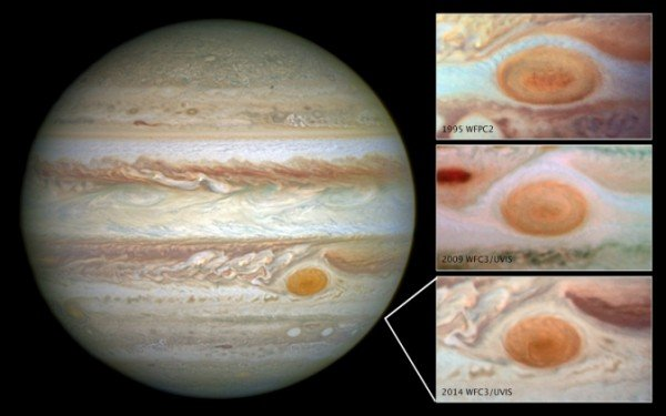 Images of Jupiter's Great Red Spot, taken by the Hubble Space Telescope over a span of 20 years, shows how the planet's trademark spot has decreased in size over the years. Image Credit: NASA/ESA