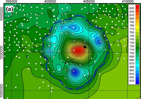 Image showing the remnants of a crater that UAlberta researchers theorize was left by a massive meteorite strike sometime in the last 70 million years. Colour variation shows metres above sea level.