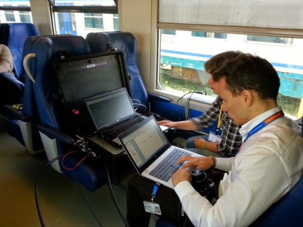 The Train Integrated Safety Satellite System project, or 3InSat for short, co-funded by ESA's Integrated Applications Promotion programme, has developed an integrated terrestrial and satcom system that guarantees the vital link between train drivers and their control centres.  In April 2014, this approach was demonstrated on a passenger train on the Italian island of Sardinia. Copyright Insaldo STS