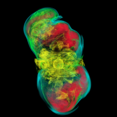"""A massive stellar core not quite managing to transition to a supernova explosion because of a small """"kink"""" instability in its rotational axis. Credit: Philipp Mösta and Sherwood Richers"""
