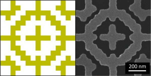 (L) Drawing of the metamaterial absorber pattern. (R) Actual metamaterial absorber pattern. Image: Bossard/Penn State