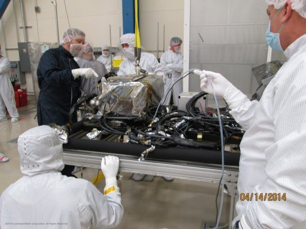 The EXIS instrument is installed onto the sun pointing platform of the GOES-R spacecraft. Image Credit: Lockheed Martin