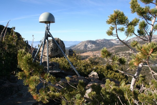 The GPS station that's part of the NSF Plate Boundary Observatory is pictured on a Nevada summit. Credit: Bill Hammond