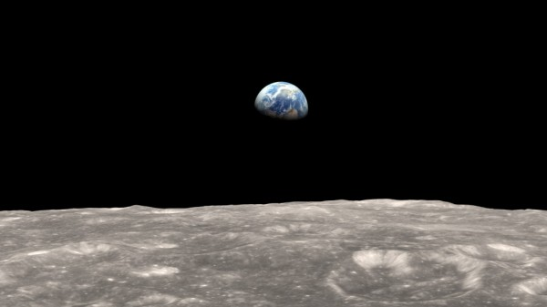 Illustration of Earth as seen from the moon. The gravitational tug-of-war between Earth and the moon raises a small bulge on the moon. The position of this bulge shifts slightly over time. Image Credit: NASA's Goddard Space Flight Center