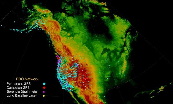 The NSF EarthScope Plate Boundary Observatory GPS network is providing millimeter-precision data. Credit: NSF EarthScope Program
