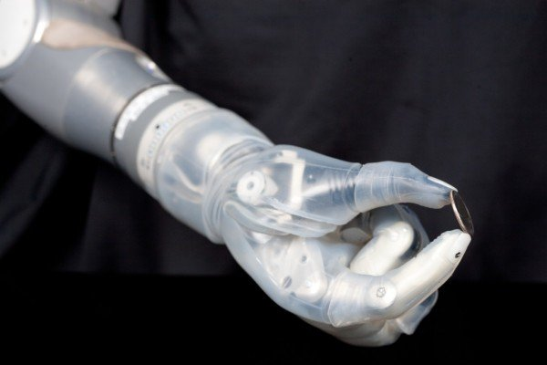 Sensors in the hand of the DEKA Arm System can provide feedback on grip strength.