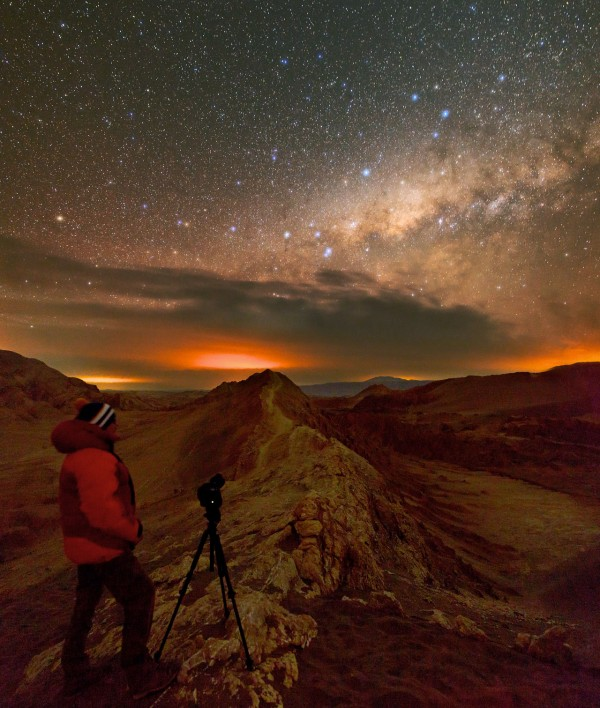 The warm, orange and crimson glow of the night sky in the photograph provide ESO Photo Ambassador Christoph Malin with a stunning subject for his photographs. He enjoys creating impressive night-sky time-lapse images and the sparkling stars in the crimson sky, which result in spectacular photographs.