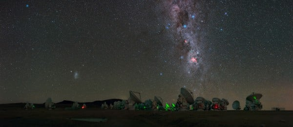 Antennas of the Atacama Large Millimeter/submillimeter Array (ALMA), on the Chajnantor Plateau, 5000m above sea level are seen in this UHD panorama. The Milky Way can be seen to stretch high abovewith Eta Carinae Nebula,a bright emission nebula, shown giving off its fiery red glow.Taken during theESO Ultra HD Expedition.