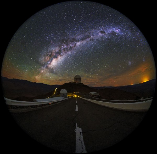A fulldome/fish-eye view of La Silla Observatory, showing theESO 3.6-metre telescopein centre view, which is home to the world's foremost extrasolar planet hunter: theHigh Accuracy Radial velocity Planet Searcher(HARPS). The Milky Way can be see in all its magnificence overhead. Taken during theESO Ultra HD Expedition.
