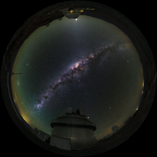 A fulldome/fish-eye view of La Silla Observatory showing a number of telescopes around the site, many used byESO Member States for targeted projects.Taken during theESO Ultra HD Expedition. In centre view (at about 6 o'clock) is theDanish 1.54-metretelescope. Shown also are the 3.58-metreNew Technology Telescope(NTT) and theESO 3.6-metre telescope(at about 11 o'clock), as well as theMPG/ESO 2.2-metretelescope (at about 12 o'clock). The Milky Way is seen to stretch overhead in all its brilliance.