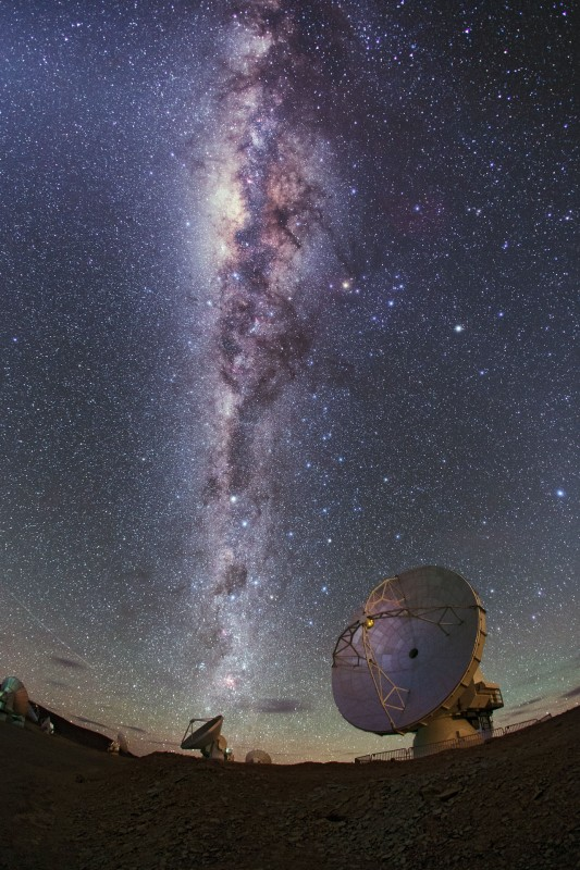 The Milky Way glitters brightly over ALMA antennas, in this image taken by the ESO Ultra High Definition Expedition team as they capture the site in 4K quality.