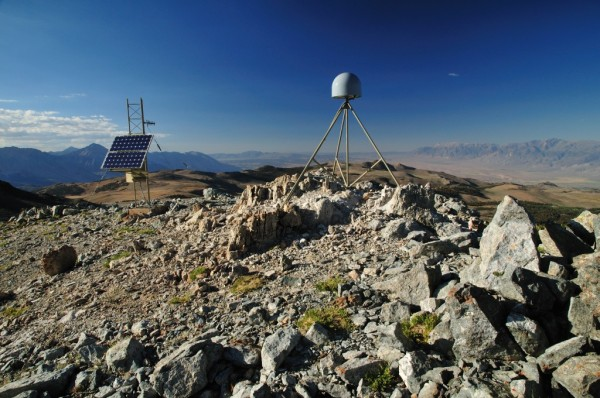 GPS station 311 in the Eastern Sierra Nevada, part of the NSF Plate Boundary Observatory. Credit: UNAVCO