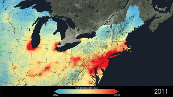 Pollution builds up along the U.S. East Coast as it passes from one city to the next, particularly in the Northeast Corridor. These cities include Richmond, Washington, Baltimore, Philadelphia, New York City, Boston and all the smaller cities in between. Some of the largest absolute changes in nitrogen dioxide have occurred in this corridor. Image Credit: NASA Goddard's Scientific Visualization Studio/T. Schindler
