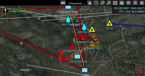 The FLASH software supports standard firefighter and first-responder icons for sharing real-time situational awareness updates about local conditions and the location and status of colleagues and available resources. The software incorporates Global Positioning System (GPS) data and aerial visual and thermal maps, as well as the strength of network connections among users.