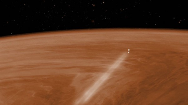 Visualisation of Venus Express during the aerobraking manoeuvre, which will see the spacecraft orbiting Venus at an altitude of around 130 km from 18 June to 11 July. In the month before, the altitude will gradually be reduced from around 200 km to 130 km. If the spacecraft survives and fuel permits, the elevation of the orbit will be raised back up to approximately 450 km, allowing operations to continue for a further few months. Eventually, however, the spacecraft will plunge back into the atmosphere and the mission will end. Copyright ESA–C. Carreau