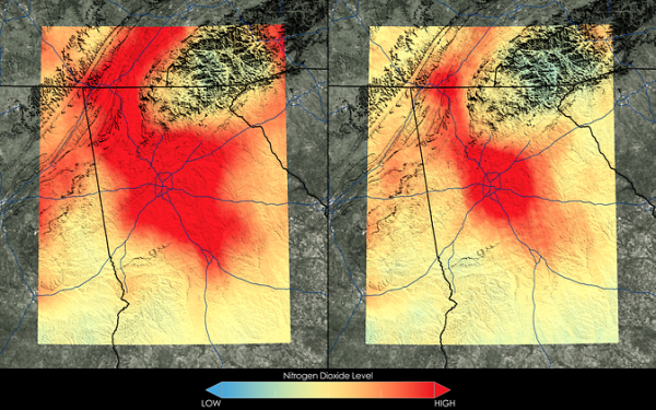 Satellite data show that Atlanta has seen a 42 percent decrease in nitrogen dioxide between the 2005-2007 (left) and 2009-2011 (right) periods. Technology improvements, such as the implementation of emission control devices on power plants, mean that residents here are now breathing cleaner air. Image Credit: NASA Goddard's Scientific Visualization Studio/T. Schindler