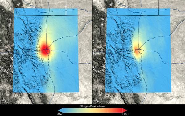 Satellite data show that Denver has seen a 22 percent decrease in nitrogen dioxide between the 2005-2007 (left) and 2009-2011 (right) periods. NASA's Discover-AQ, a multi-year airborne mission, is flying this summer in Denver to learn more about the region's wide range of air pollutants. Image Credit: NASA Goddard's Scientific Visualization Studio/T. Schindler