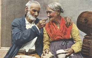 Picture: Naples ─ Old Couple. Year: 1890. Source:  Wikimedia Commons