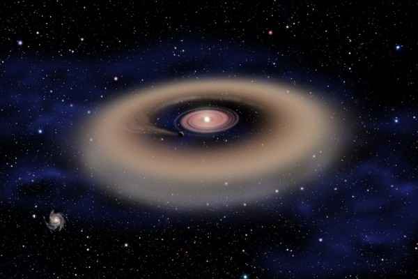 This artist's conception shows a planet forming from a disk of gas and dust surrounding a young star. David A. Aguilar (CfA)