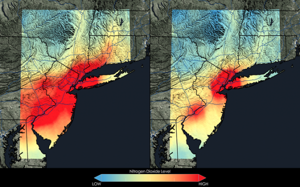 Satellite data show that New York City has seen a 32 percent decrease in nitrogen dioxide between the 2005-2007 (left) and 2009-2011 (right) periods. The city tops the charts in terms of U.S. population, which usually means more air pollution. Even here, however, the air is on the mend. Image Credit: NASA Goddard's Scientific Visualization Studio/T. Schindler