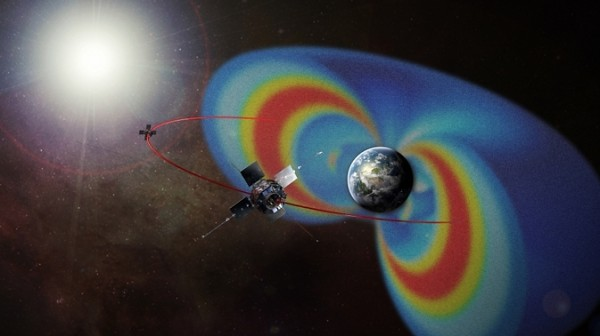 NASA's Van Allen Probes orbit through two giant radiation belts surrounding Earth. Their observations help explain how particles in the belts can be sped up to nearly the speed of light. Image Credit: NASA