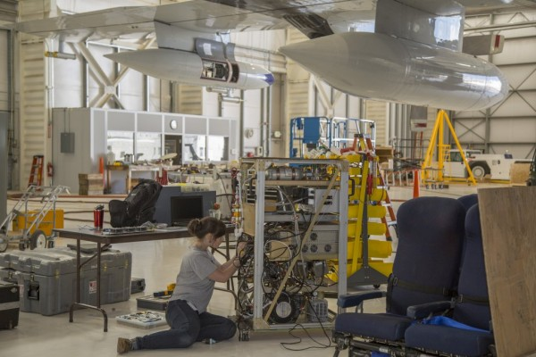 The NSF/NCAR C-130 aircraft includes pods on each wing where air-sampling instruments are mounted. Credit: NCAR