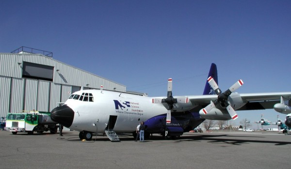 The NSF/NCAR C-130 aircraft is based at Rocky Mountain Metropolitan Airport in Broomfield, Colo. Credit: NCAR