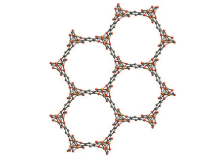 A view inside the MOF: hexagonal channels lined with iron. Credit: Dianne Xiao, Berkeley