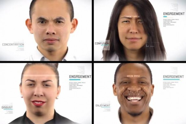Screenshot of a video from Affectiva shows how the Affdex software tracks facial cues to infer emotions. At top left, a fixed stare signals concentration; at top right, a furrowed brow signals confusion; at bottom right, a raise brow signals enjoyment; and at bottom left, a wrinkled nose bridge may signal disgust.
