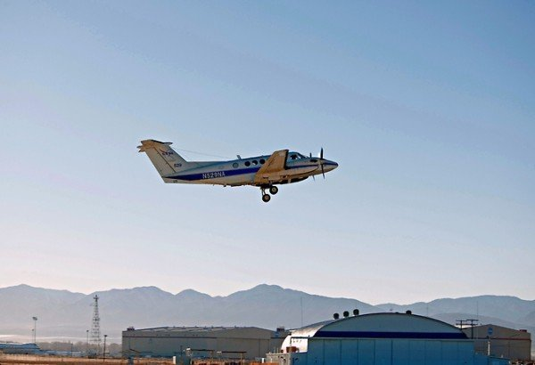 A King Air B200 aircraft from NASA's Langley Research Center in Hampton, Virginia, seen here in an undated file image, will gather pollution data from up to 27,000 feet. Image Credit: NASA/Suzanne Crumeyrolle