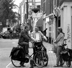 Picture: Dutch people talking on the street Source: