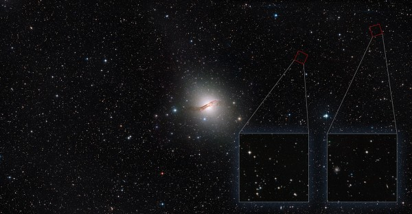 This image shows the stunning elliptical galaxy Centaurus A. Recently, astronomers have used the NASA/ESA Hubble Space Telescope to probe the outskirts of this galaxy to learn more about its dim halo of stars. Two of the areas probed with Hubble are shown here in the red squares, and in more detail in the insets. Other areas were probed even further away, beyond the field of view of this image. Hubble's unique capabilities allowed astronomers to analyse the faint stars in the halo. The galaxy's halo of stars has been found to reach much further than expected, extending across 4 degrees in the sky — equivalent to eight times the apparent width of the Moon, or almost twice the width of this image. This image is a composite of images from Digitized Sky Survey 2 (DSS2), the MPG/ESO 2.2-metre telescope and the NASA/ESA Hubble Space Telescope's Advanced Camera for Surveys (ACS). Credit:  Image credit: ESA/Hubble, NASA, Digitized Sky Survey, MPG/ESO Acknowledgement: Davide de Martin