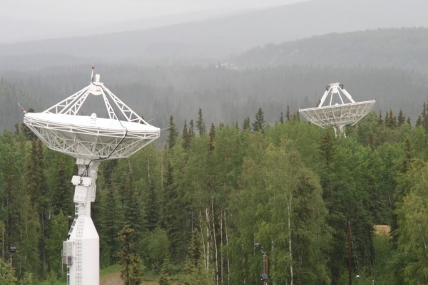 NASA's newest antenna AS-3 in the foreground and AS-1 in the background. Image Credit: NASA