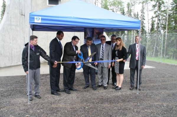 A ribbon cutting ceremony was held at the base of NASA's newest antenna for the Near Earth Network. Image Credit: NASA