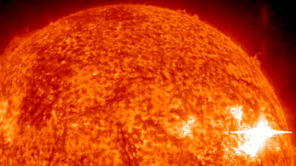 A solar flare erupted on the far side of the sun on June 4, 2011, and sent solar neutrons out into space. Solar neutrons don't make it to all the way to Earth, but NASA's MESSENGER, orbiting Mercury, found strong evidence for the neutrons, offering a new technique to study these giant explosions. Image Credit: NASA/STEREO/Helioviewer
