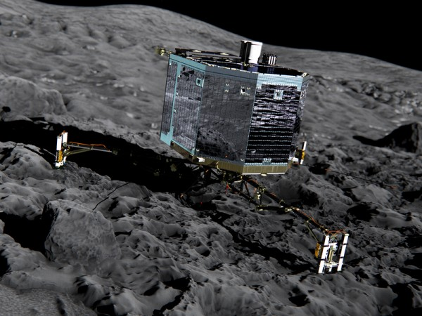 Touch down: This is what it could look like when the three-legged Philae lander touches down on the surface of the Churyumov-Gerasimenko comet in November. © ESA/ATG medialab
