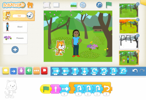 As children create stories with ScratchJr, they use math and language in a motivating context, supporting the development of early numeracy and literacy.