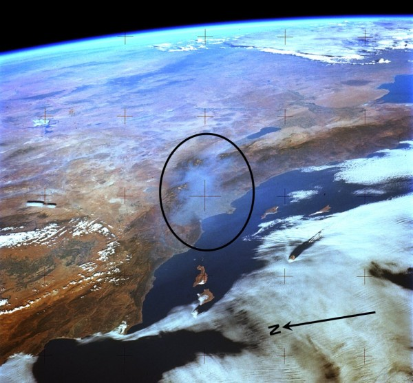 This astronaut image taken in 1973 from NASA's Skylab station has been processed to highlight a thick layer of smog in the Los Angeles Basin (circled). (Original frame: SL3-122-2591.) Image Credit: NASA's Johnson Space Center, Image Science & Analysis Lab